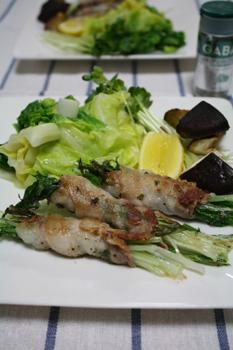 水菜と豚バラのハーブソテー