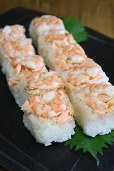エビと鮭の押し寿司