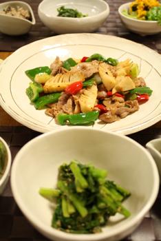 筍と豚肉の中華炒めと献立