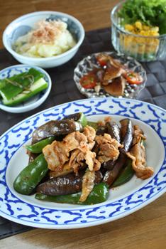 豚肉と茄子ピーマンのピリ辛味噌炒め