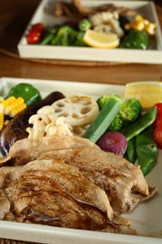 色々野菜の蒸し焼き&豚生姜