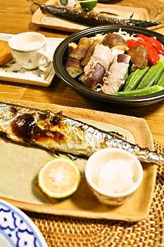 秋刀魚、タジン鍋