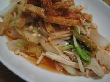 料理,エノキと白菜のゴマ油蒸し
