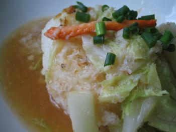 料理,焼きおむすびのカニスープ