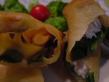アジの春巻き、椎茸チーズ巻き