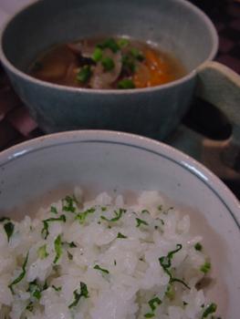 セロリ葉ご飯と豚汁