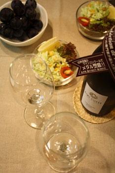 白ワインとコールスロー