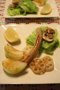 野菜蒸し焼きと、ソーセージ