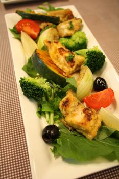 鮭ムニエルと野菜